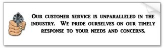 our customer service is unparalleled bumper sticker